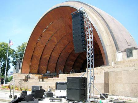 Meyer Mrsquoelodie Line Array on top of Meyer 600-HP Subwoofers